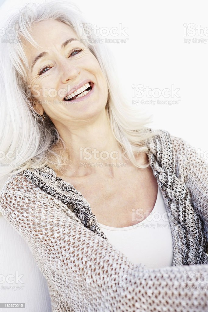 Portrait of a senior woman laughing royalty-free stock photo