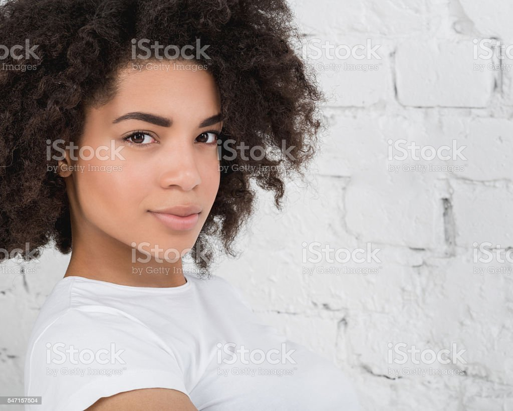 Portrait of a sensual young African woman stock photo
