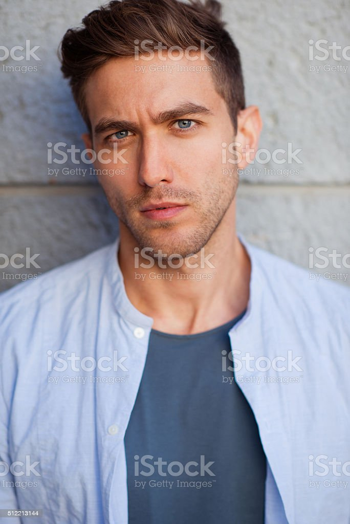 Portrait of a serious and handsome man stock photo