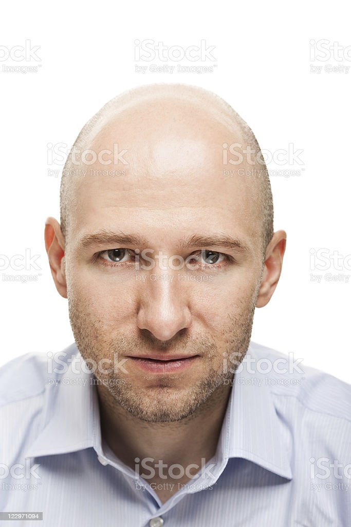 Portrait of a serious white man with blank expression stock photo