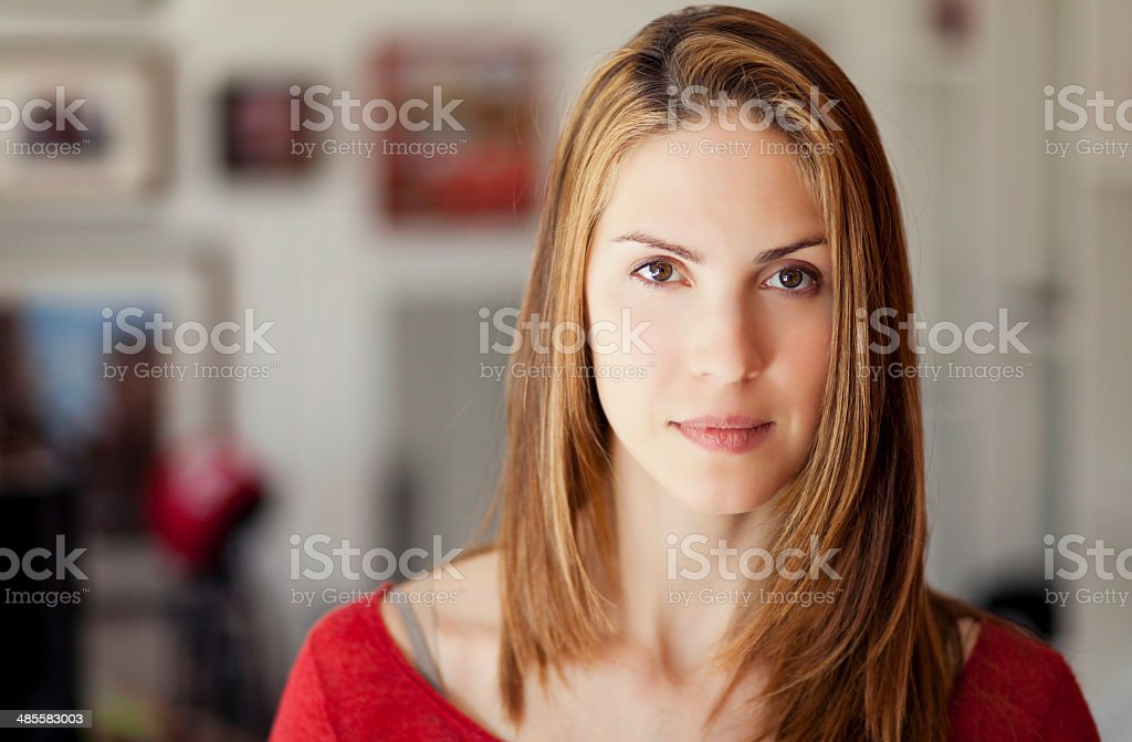 Portrait Of A Serious Woman looking at the camera stock photo