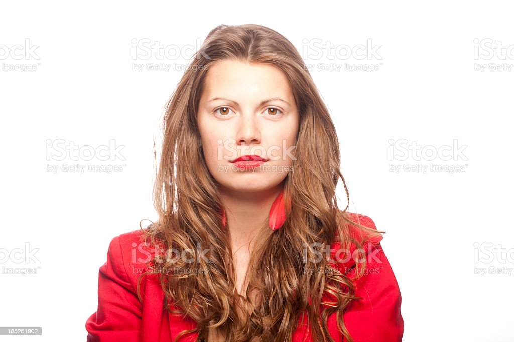 Portrait of a serious woman stock photo