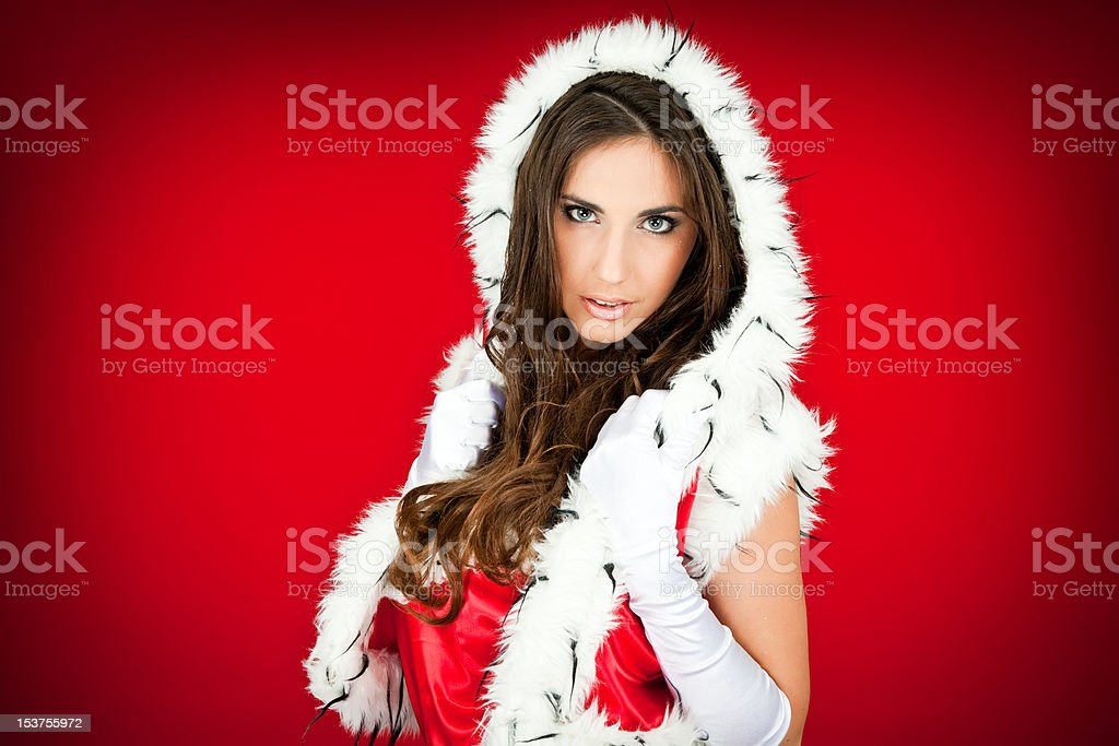 portrait of a  sexy santa woman on red royalty-free stock photo
