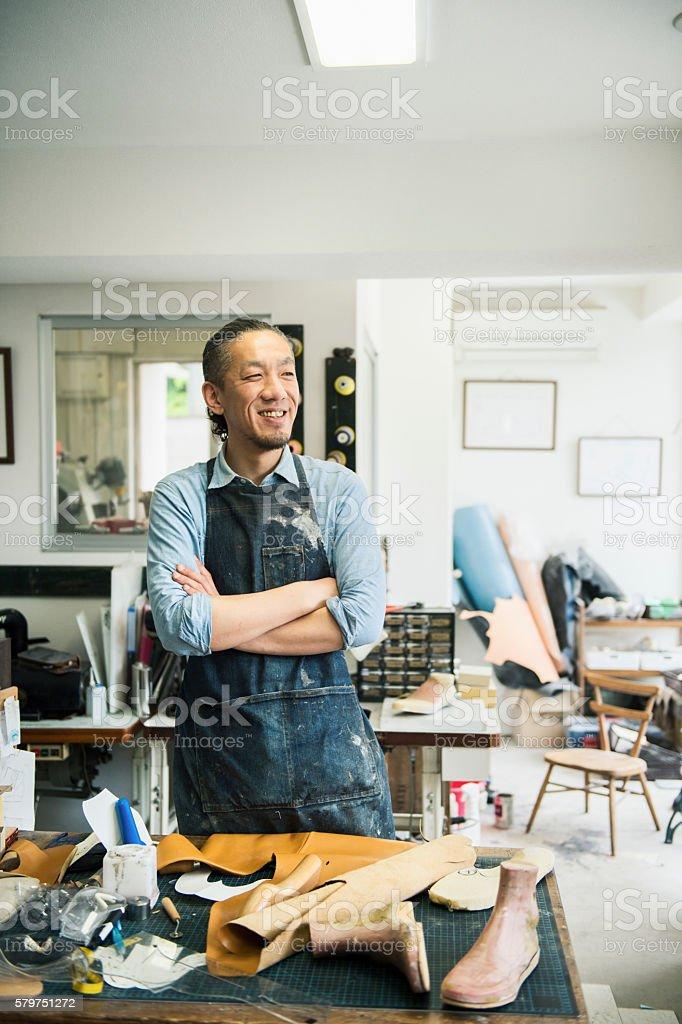 Portrait of a Shoe deisgner stock photo