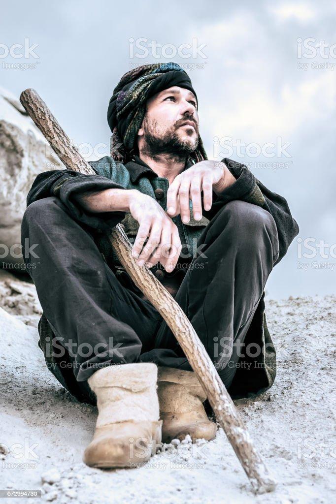 Portrait of a Sitting Man In Turban stock photo