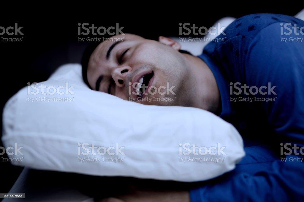 Portrait of a sleeping man stock photo