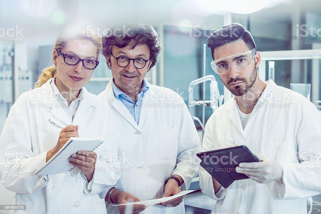 Portrait of a Small Team of Scientists in the Laboratory stock photo