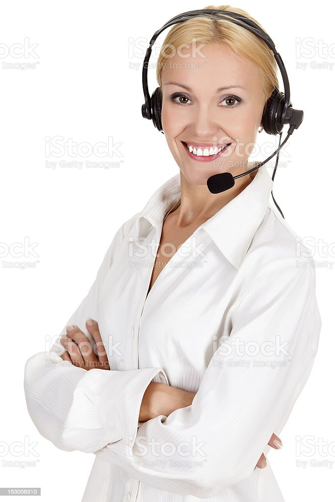 Portrait of a smiling blond phone receptionist royalty-free stock photo