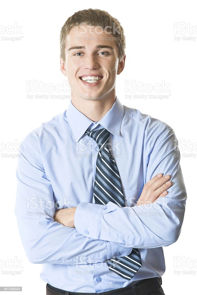 Portrait of a smiling businessman on a white background royalty-free stock photo