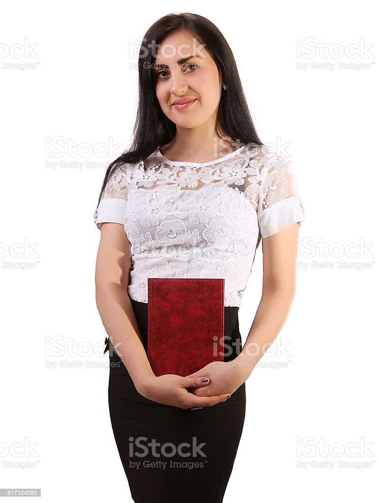 Portrait of a smiling businessman with a book in hands royalty-free stock photo