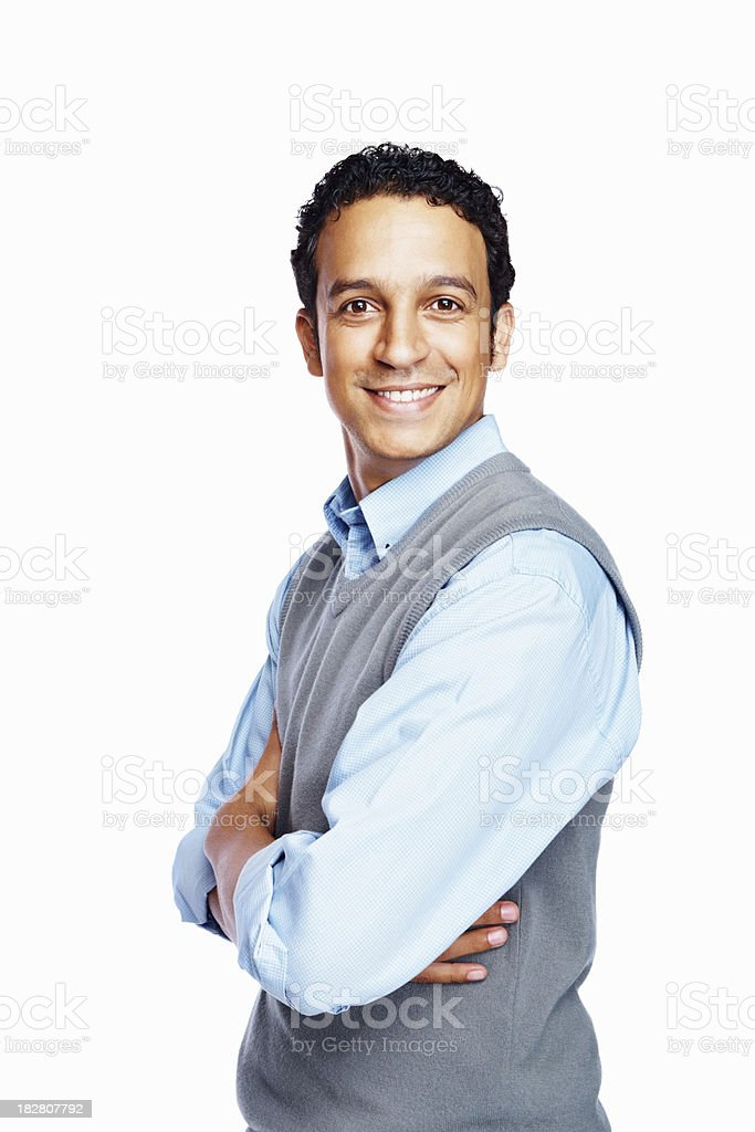 Portrait of a smiling businessman with arms crossed royalty-free stock photo