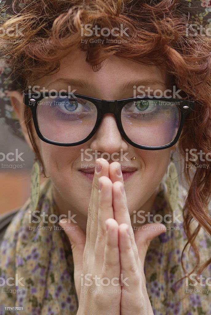 Portrait of a smiling hipster girl royalty-free stock photo