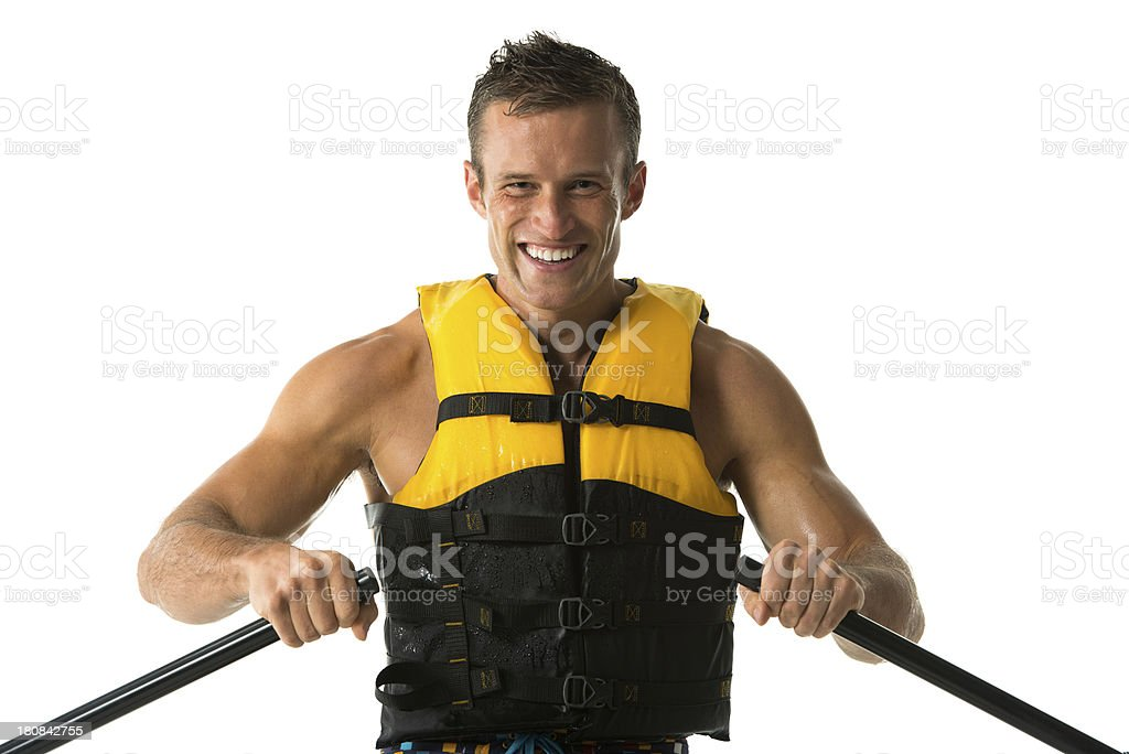 Portrait of a smiling man canoeing royalty-free stock photo