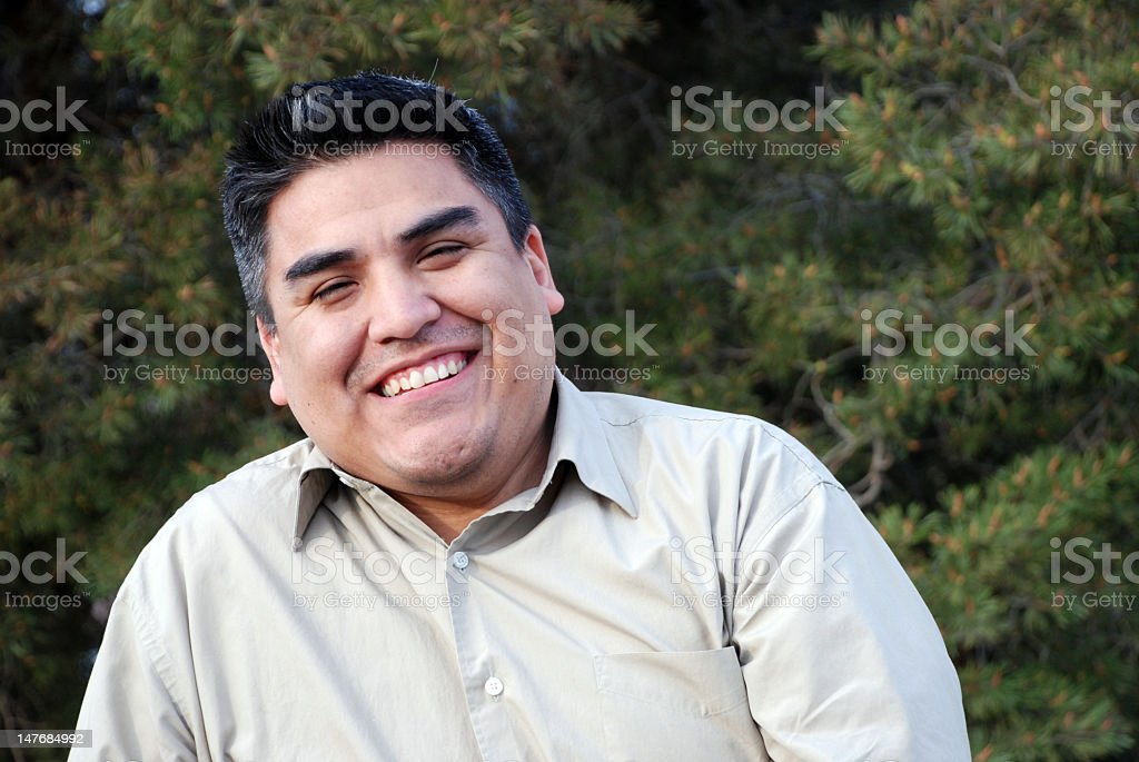Portrait of a smiling man outside stock photo