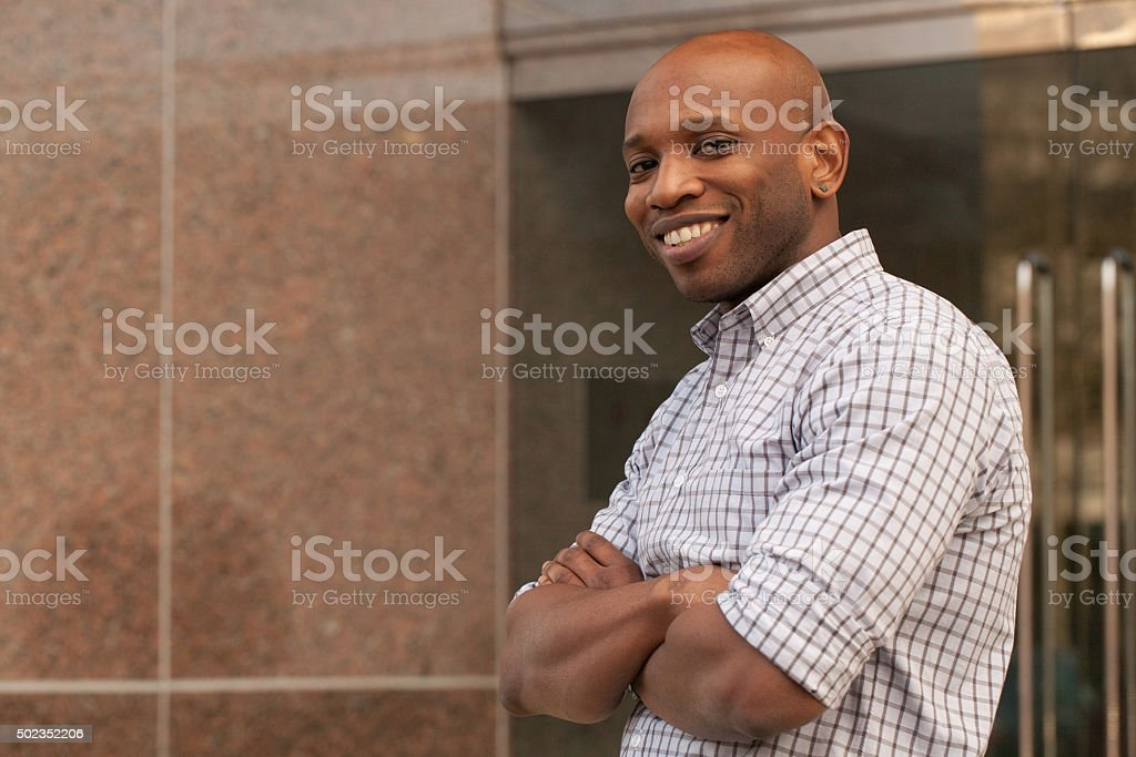 Portrait of a smiling mature African American man stock photo