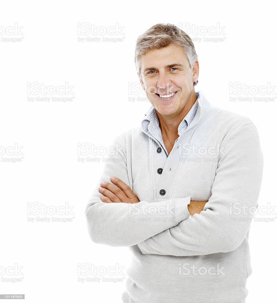 Portrait of a smiling mature man with arms crossed royalty-free stock photo