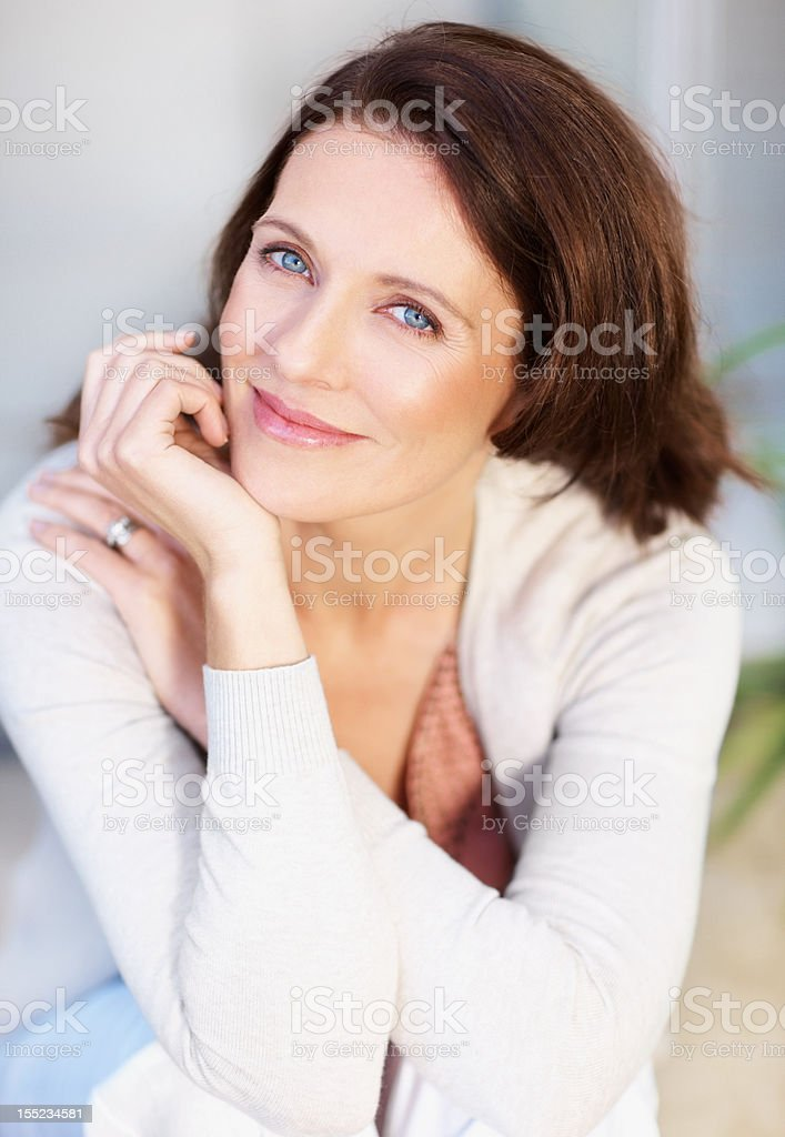 Portrait of a smiling mid adult lady stock photo