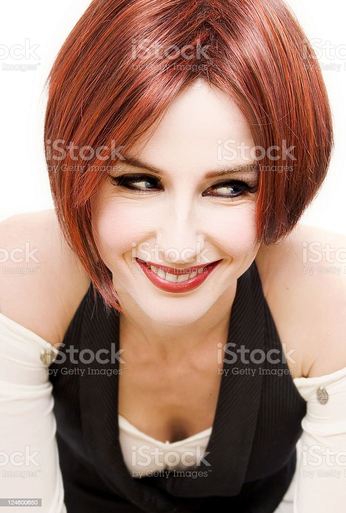 Portrait of a smiling redhead woman stock photo