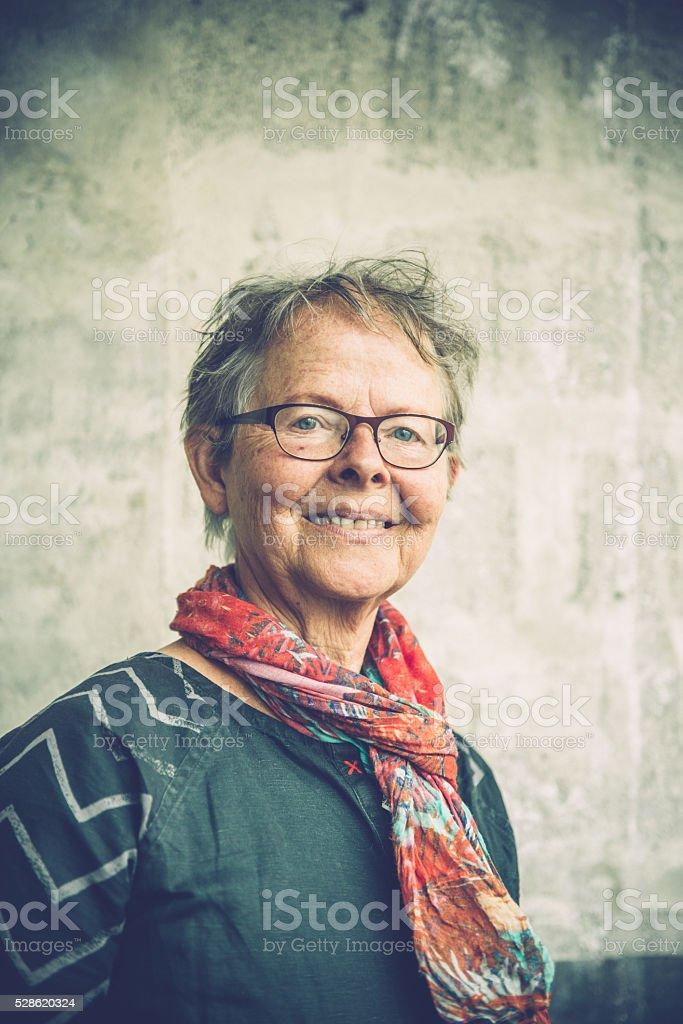 Portrait of a Smiling Senior Woman, Paris, France stock photo