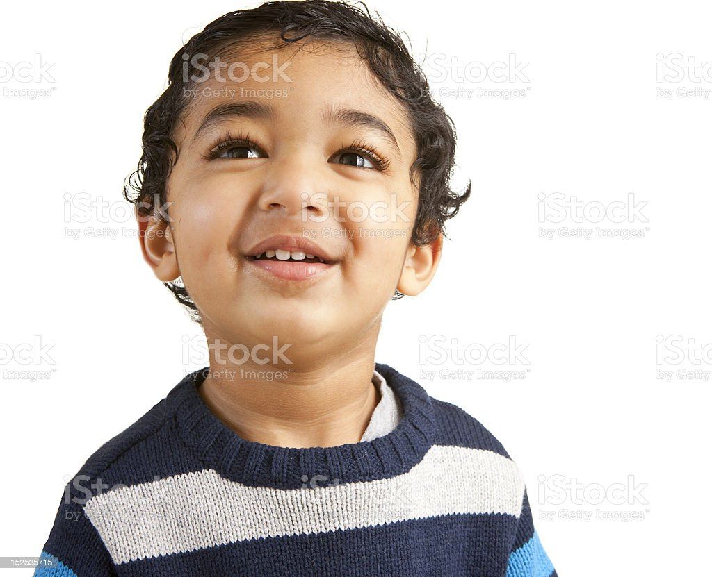 Portrait of a Smiling Toddler Isolated on White royalty-free stock photo