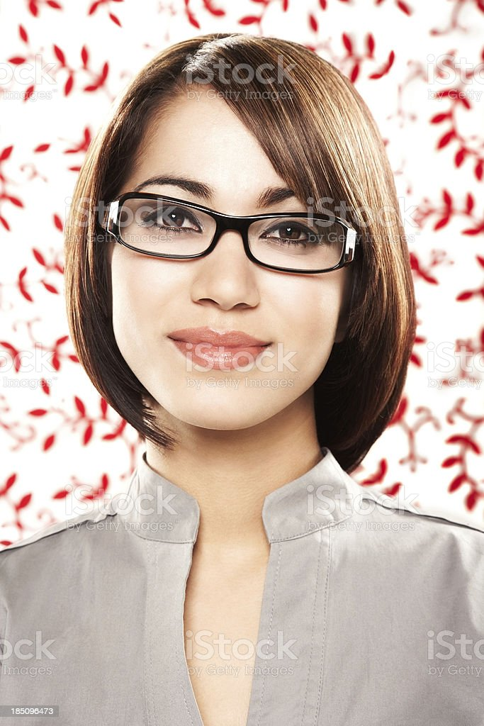 Portrait of a smiling woman in spectacles royalty-free stock photo