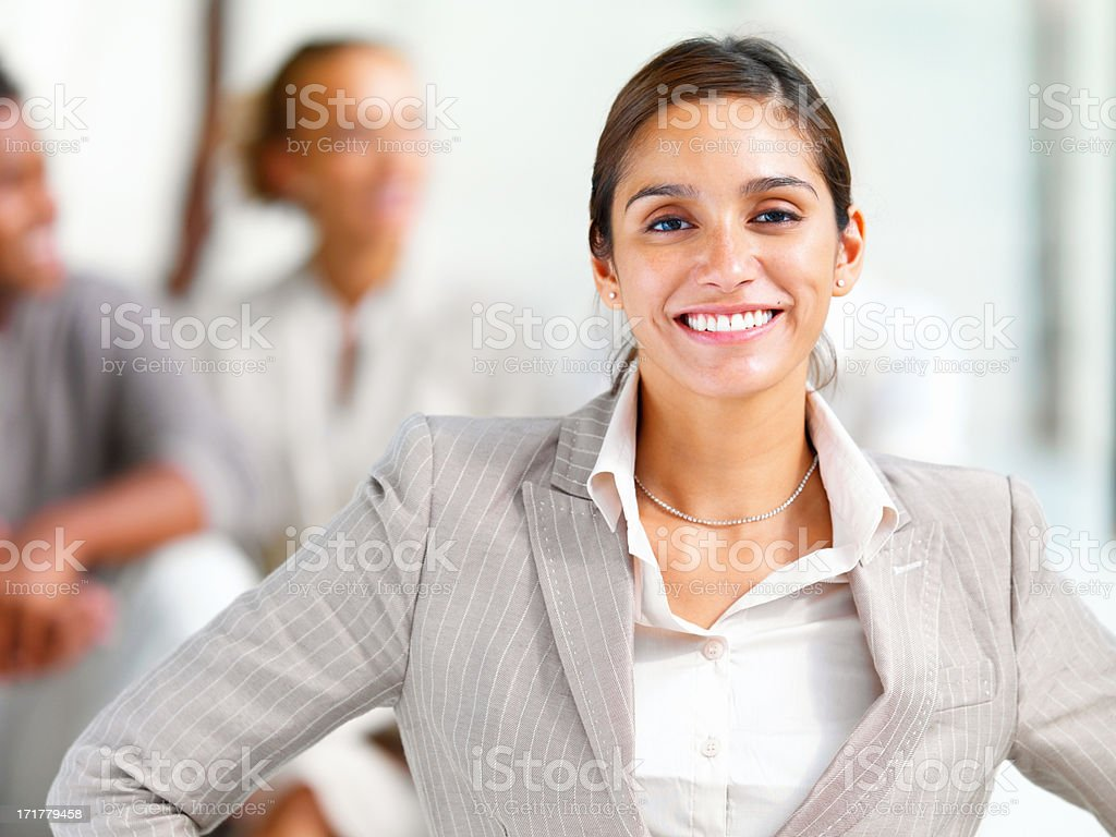 Portrait of a smiling young businesswoman stock photo