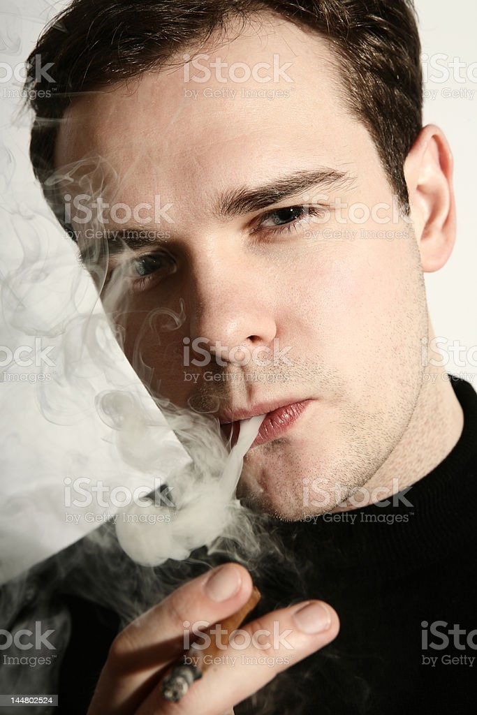 Portrait of a smoker stock photo