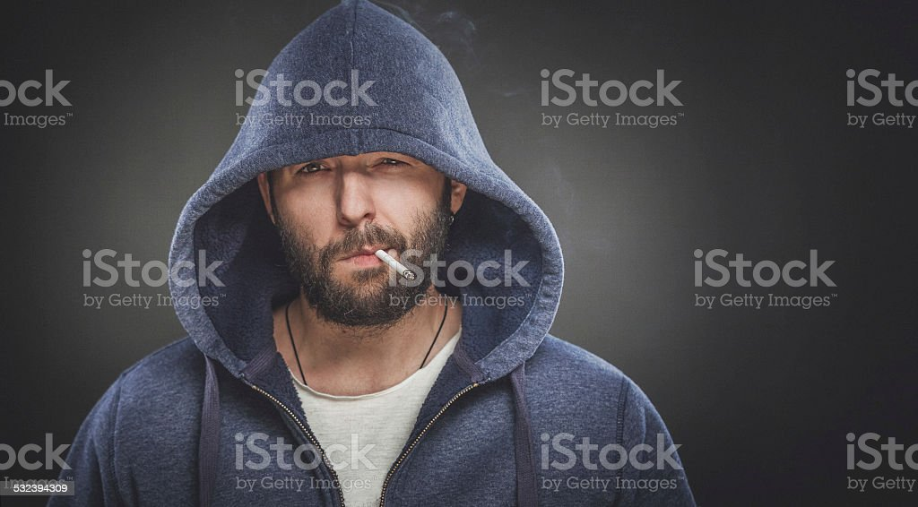 Portrait of a smoking man stock photo