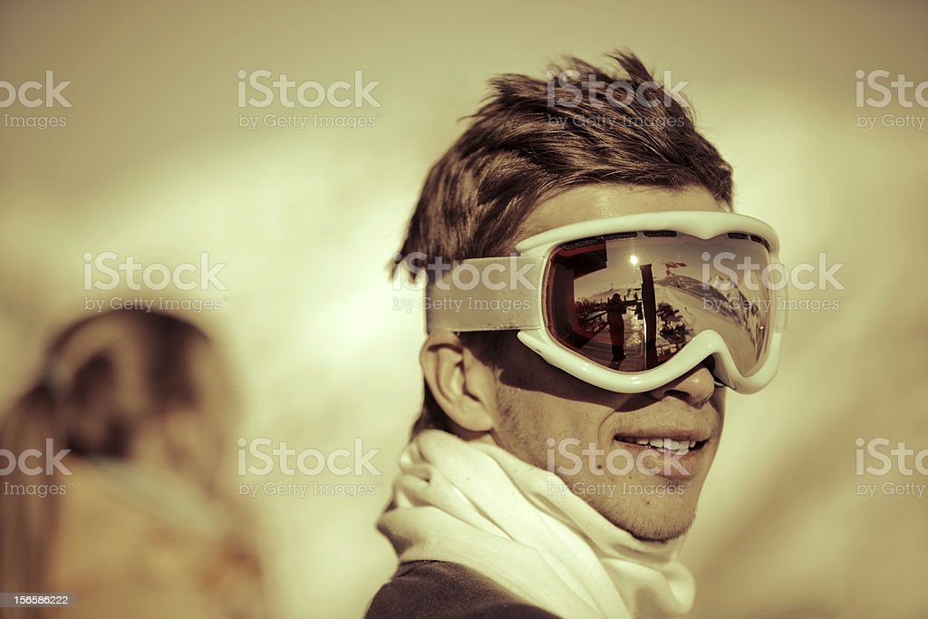 Portrait of a snowboarder royalty-free stock photo