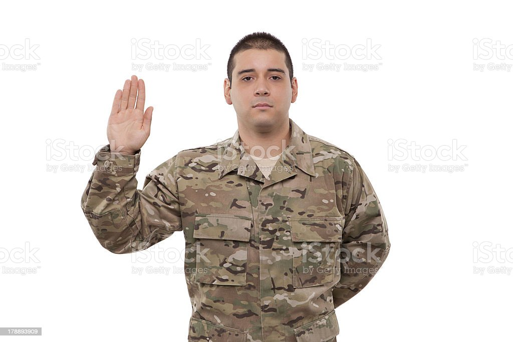 Portrait of a soldier performing oath royalty-free stock photo