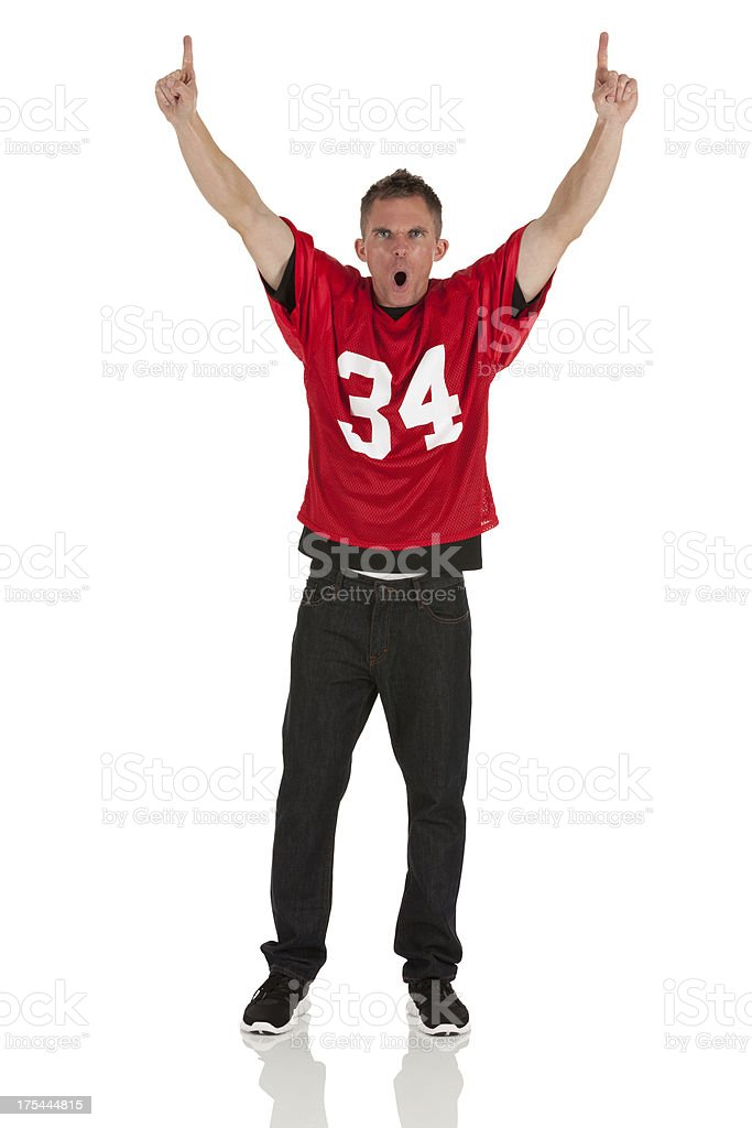 Portrait of a sports fan shouting stock photo