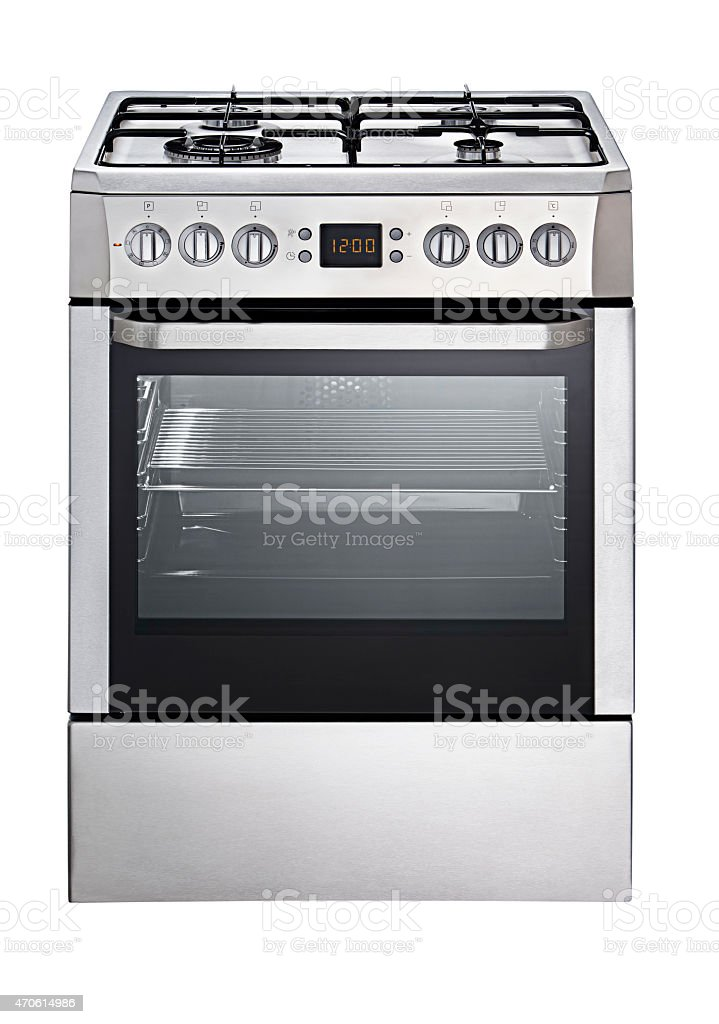 Portrait of a stainless steel oven with a glass door stock photo