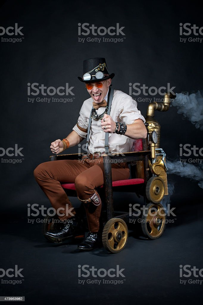 Portrait of a steampunk man stock photo