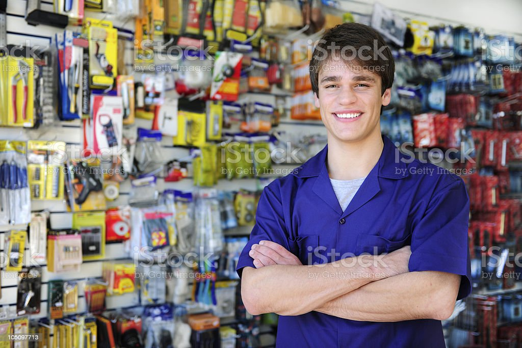 portrait of  a store owner stock photo