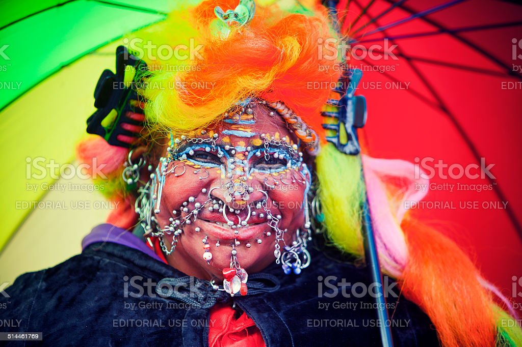 Portrait of a Street Entertainer stock photo