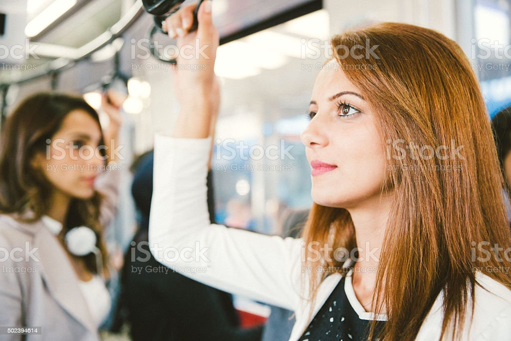 Portrait Of A Successful Businesswoman On The Bus stock photo