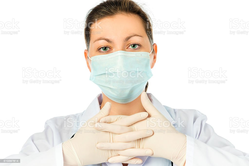 portrait of a surgeon in a sterile protective clothing stock photo