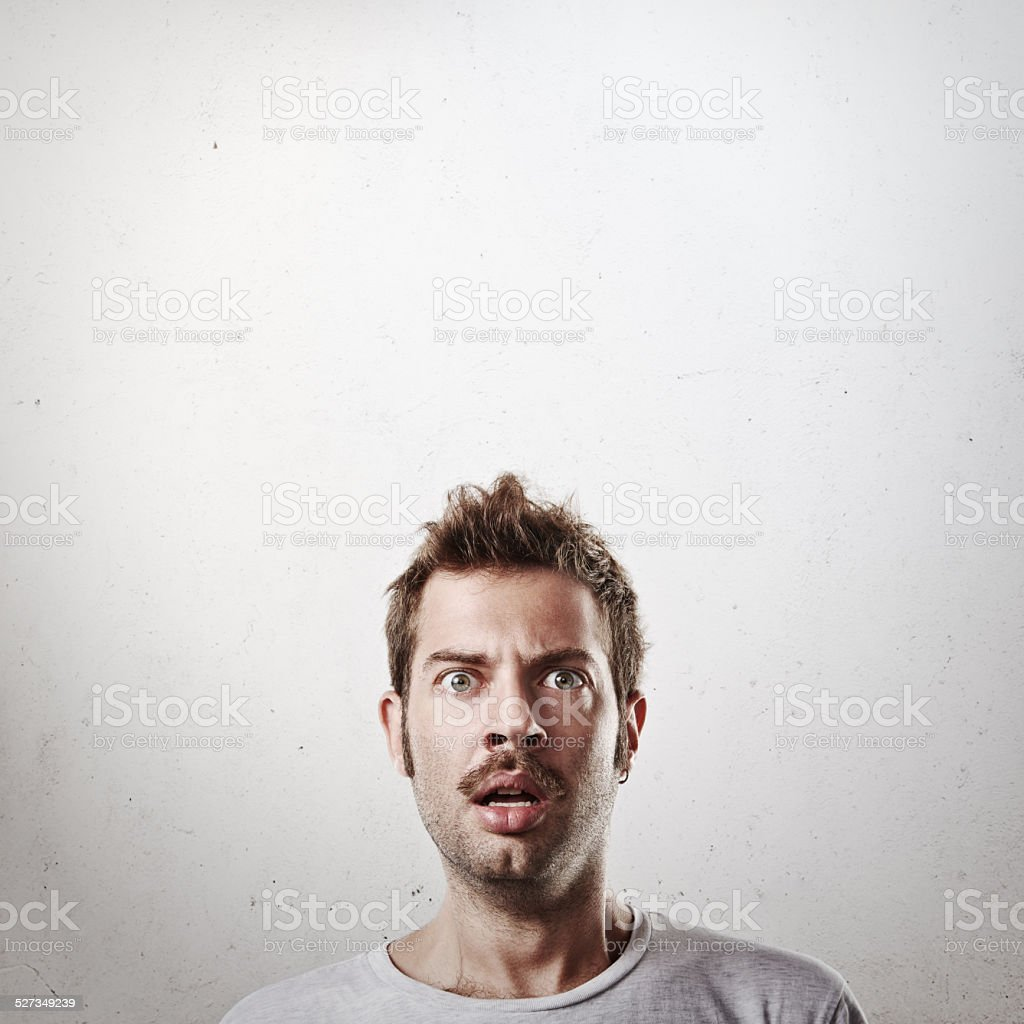 Portrait of a surprised man stock photo