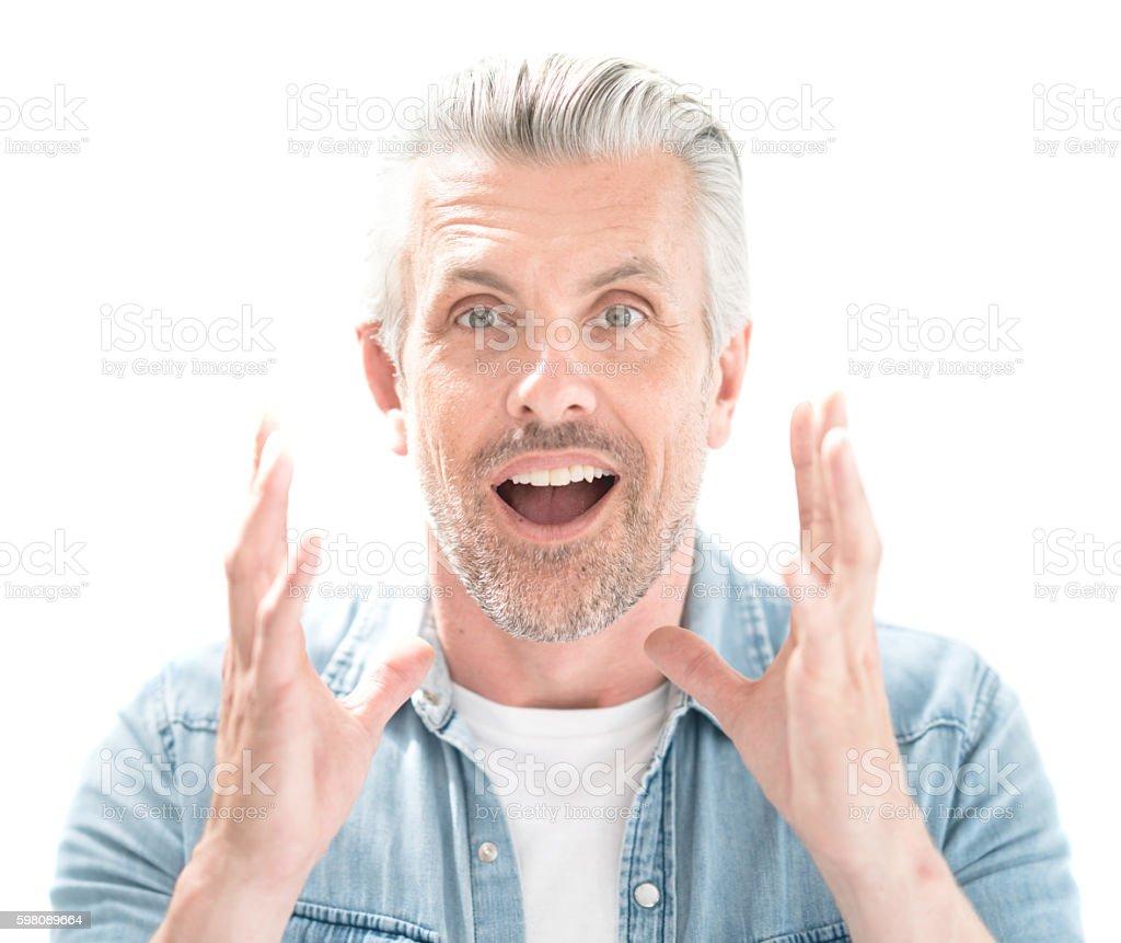 Portrait of a surprised man stock photo