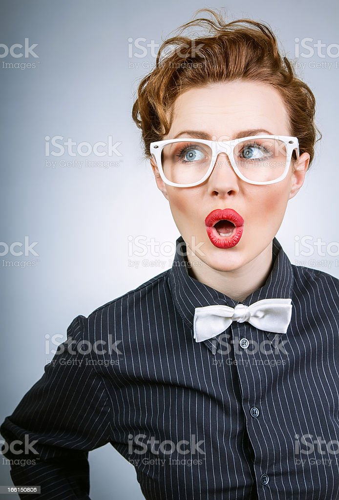 Portrait of a surprised stylish woman royalty-free stock photo