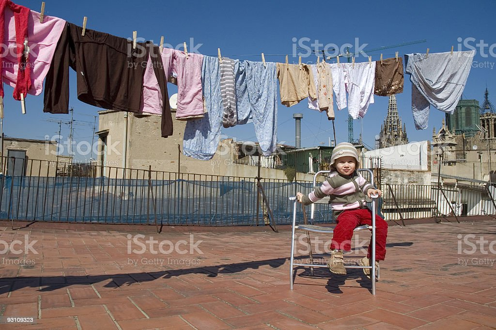 portrait of a sweet girl with the clothesline royalty-free stock photo