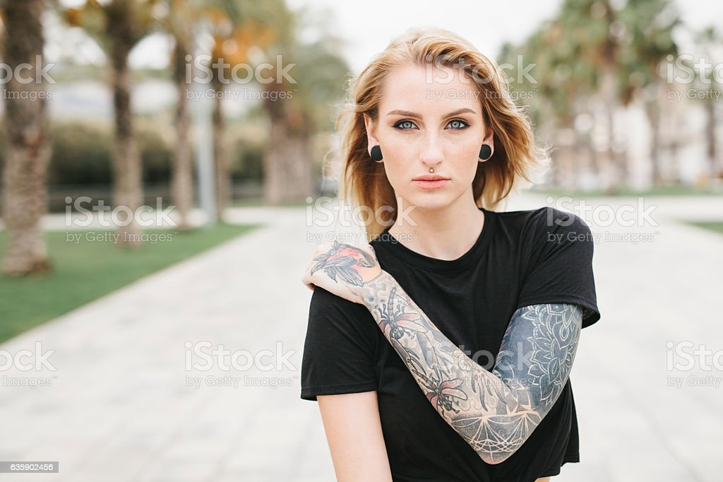 Portrait of a Tattooed Girl stock photo