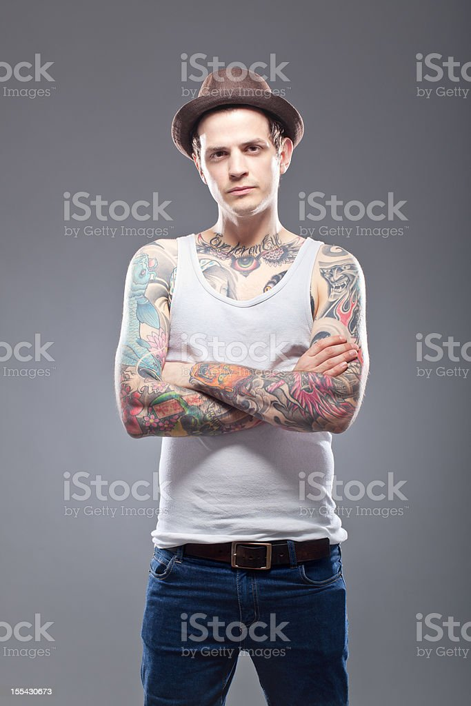 Portrait of a tattooed man stock photo