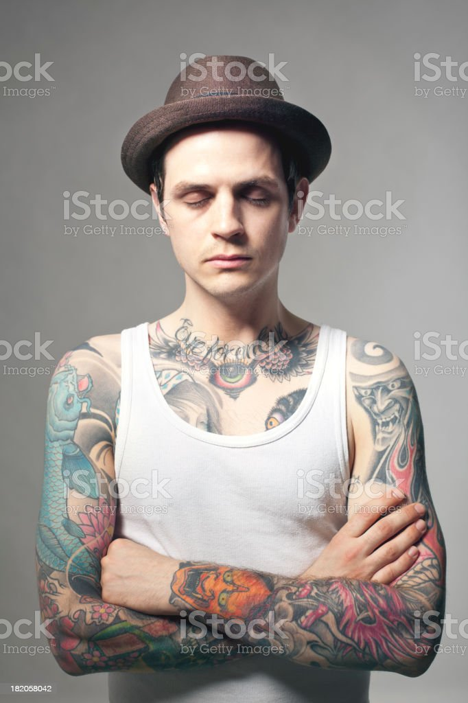 Portrait of a tattooed man royalty-free stock photo