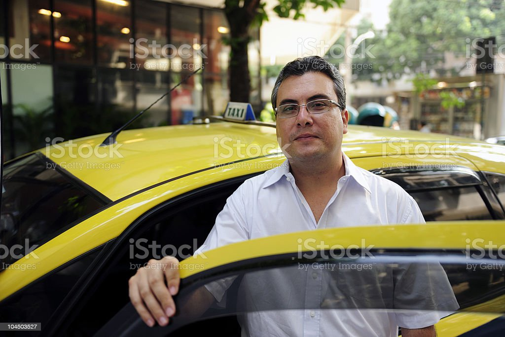 portrait of a taxi driver stock photo