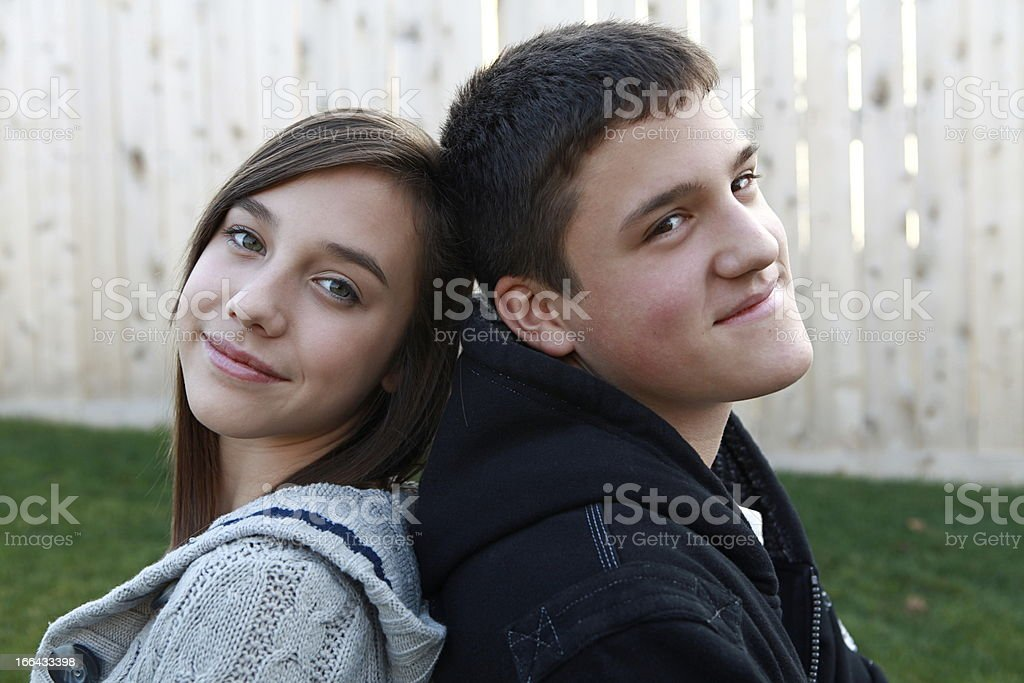 Portrait of a Teen Boy and Girl stock photo