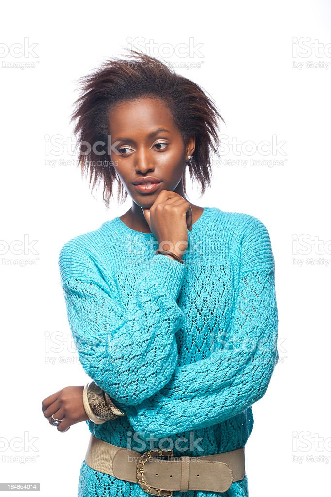 Portrait of a thinking woman stock photo