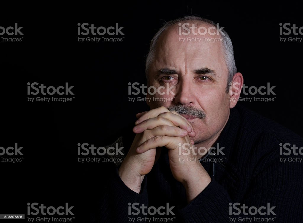 Portrait of a thoughtful man stock photo