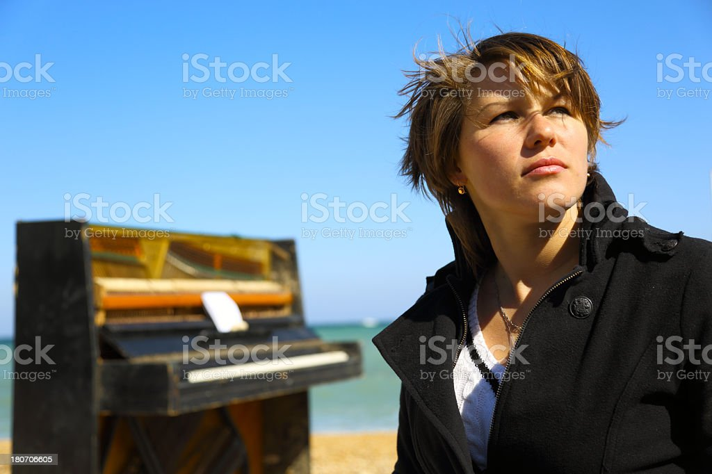 Portrait of a thoughtful young woman royalty-free stock photo