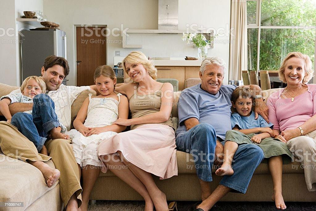 Portrait of a three generation family royalty-free stock photo